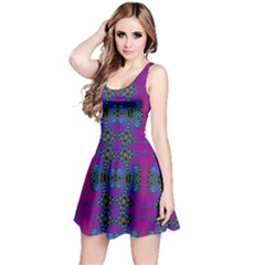 Purple Seamless Pattern Digital Computer Graphic Fractal Wallpaper Reversible Sleeveless Dress