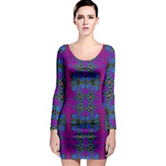 Purple Seamless Pattern Digital Computer Graphic Fractal Wallpaper Long Sleeve Bodycon Dress