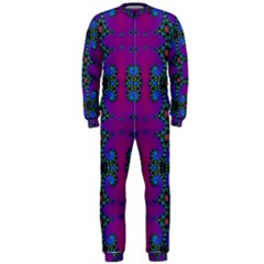 Purple Seamless Pattern Digital Computer Graphic Fractal Wallpaper OnePiece Jumpsuit (Men)