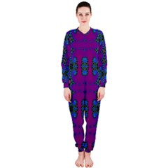 Purple Seamless Pattern Digital Computer Graphic Fractal Wallpaper OnePiece Jumpsuit (Ladies)