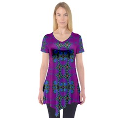 Purple Seamless Pattern Digital Computer Graphic Fractal Wallpaper Short Sleeve Tunic