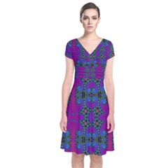 Purple Seamless Pattern Digital Computer Graphic Fractal Wallpaper Short Sleeve Front Wrap Dress