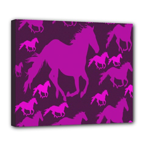 Pink Horses Horse Animals Pattern Colorful Colors Deluxe Canvas 24  x 20