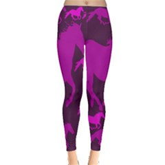 Pink Horses Horse Animals Pattern Colorful Colors Leggings
