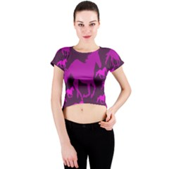 Pink Horses Horse Animals Pattern Colorful Colors Crew Neck Crop Top