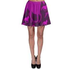 Pink Horses Horse Animals Pattern Colorful Colors Skater Skirt