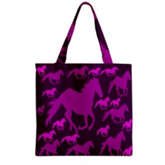 Pink Horses Horse Animals Pattern Colorful Colors Grocery Tote Bag