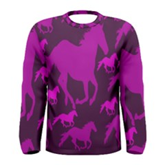 Pink Horses Horse Animals Pattern Colorful Colors Men s Long Sleeve Tee
