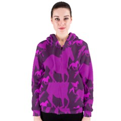 Pink Horses Horse Animals Pattern Colorful Colors Women s Zipper Hoodie
