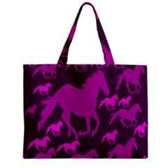 Pink Horses Horse Animals Pattern Colorful Colors Zipper Mini Tote Bag