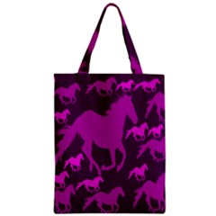 Pink Horses Horse Animals Pattern Colorful Colors Zipper Classic Tote Bag