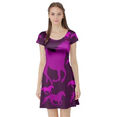 Pink Horses Horse Animals Pattern Colorful Colors Short Sleeve Skater Dress