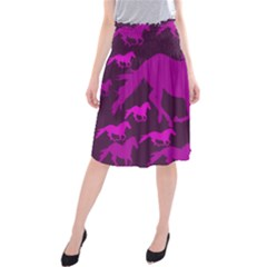 Pink Horses Horse Animals Pattern Colorful Colors Midi Beach Skirt
