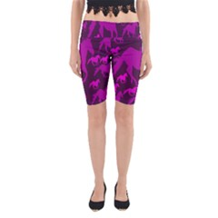 Pink Horses Horse Animals Pattern Colorful Colors Yoga Cropped Leggings