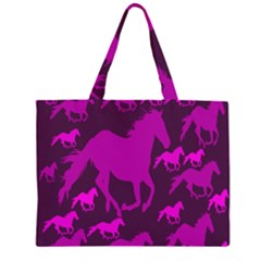 Pink Horses Horse Animals Pattern Colorful Colors Zipper Large Tote Bag