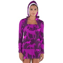 Pink Horses Horse Animals Pattern Colorful Colors Women s Long Sleeve Hooded T Shirt