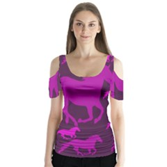 Pink Horses Horse Animals Pattern Colorful Colors Butterfly Sleeve Cutout Tee