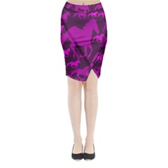 Pink Horses Horse Animals Pattern Colorful Colors Midi Wrap Pencil Skirt