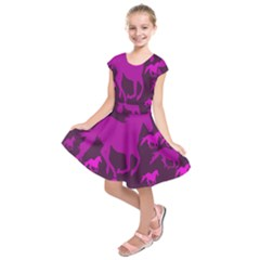 Pink Horses Horse Animals Pattern Colorful Colors Kids  Short Sleeve Dress