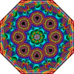 3d Glass Frame With Kaleidoscopic Color Fractal Imag Straight Umbrellas