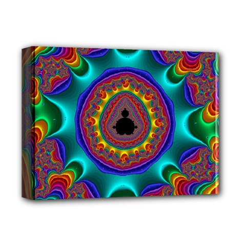 3d Glass Frame With Kaleidoscopic Color Fractal Imag Deluxe Canvas 16  x 12