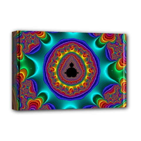 3d Glass Frame With Kaleidoscopic Color Fractal Imag Deluxe Canvas 18  x 12