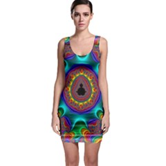 3d Glass Frame With Kaleidoscopic Color Fractal Imag Sleeveless Bodycon Dress