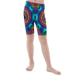 3d Glass Frame With Kaleidoscopic Color Fractal Imag Kids  Mid Length Swim Shorts