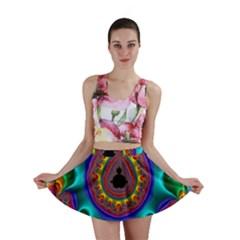 3d Glass Frame With Kaleidoscopic Color Fractal Imag Mini Skirt
