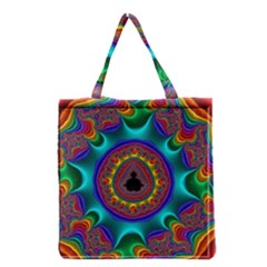 3d Glass Frame With Kaleidoscopic Color Fractal Imag Grocery Tote Bag