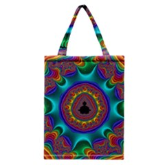 3d Glass Frame With Kaleidoscopic Color Fractal Imag Classic Tote Bag