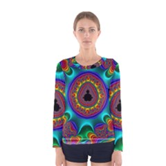 3d Glass Frame With Kaleidoscopic Color Fractal Imag Women s Long Sleeve Tee