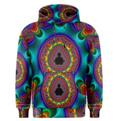 3d Glass Frame With Kaleidoscopic Color Fractal Imag Men s Pullover Hoodie