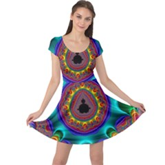 3d Glass Frame With Kaleidoscopic Color Fractal Imag Cap Sleeve Dresses