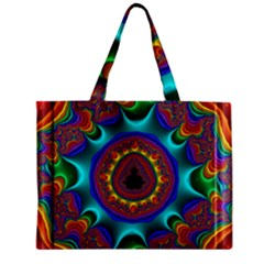 3d Glass Frame With Kaleidoscopic Color Fractal Imag Zipper Mini Tote Bag