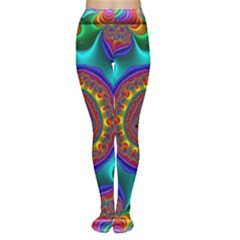 3d Glass Frame With Kaleidoscopic Color Fractal Imag Women s Tights