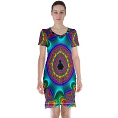 3d Glass Frame With Kaleidoscopic Color Fractal Imag Short Sleeve Nightdress