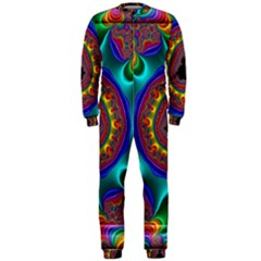 3d Glass Frame With Kaleidoscopic Color Fractal Imag OnePiece Jumpsuit (Men)