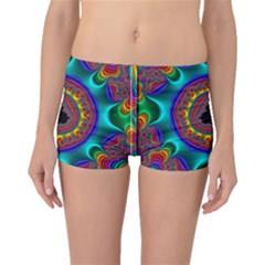 3d Glass Frame With Kaleidoscopic Color Fractal Imag Boyleg Bikini Bottoms