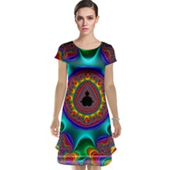 3d Glass Frame With Kaleidoscopic Color Fractal Imag Cap Sleeve Nightdress