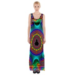 3d Glass Frame With Kaleidoscopic Color Fractal Imag Maxi Thigh Split Dress