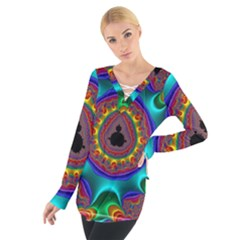 3d Glass Frame With Kaleidoscopic Color Fractal Imag Women s Tie Up Tee