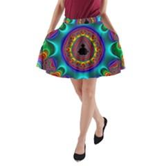 3d Glass Frame With Kaleidoscopic Color Fractal Imag A Line Pocket Skirt