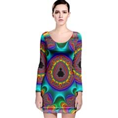 3d Glass Frame With Kaleidoscopic Color Fractal Imag Long Sleeve Velvet Bodycon Dress