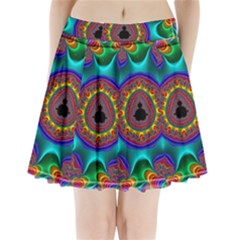 3d Glass Frame With Kaleidoscopic Color Fractal Imag Pleated Mini Skirt