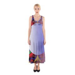 Texture Circle Fractal Frame Sleeveless Maxi Dress