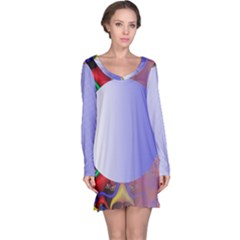 Texture Circle Fractal Frame Long Sleeve Nightdress