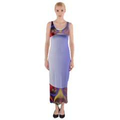 Texture Circle Fractal Frame Fitted Maxi Dress