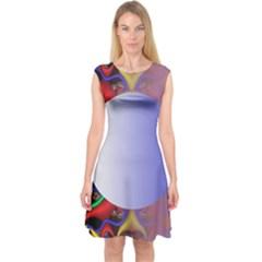 Texture Circle Fractal Frame Capsleeve Midi Dress