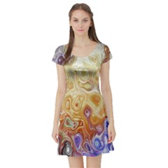 Space Abstraction Background Digital Computer Graphic Short Sleeve Skater Dress